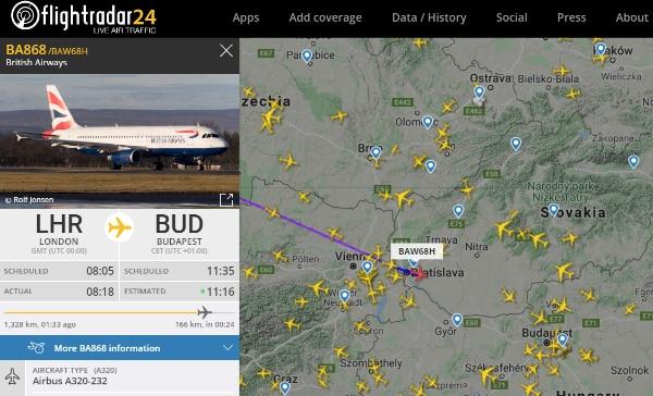 Sledovanie letu cez flightradar